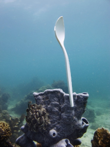 Plastic spoon floating underwater in the ocean.